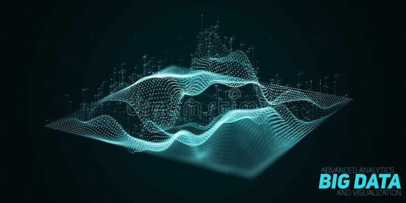 Konspirerar abstrakta stora data 3D för vektorn visualization med grunt djup av fältet Estetisk design för futuristisk infographi stock illustrationer