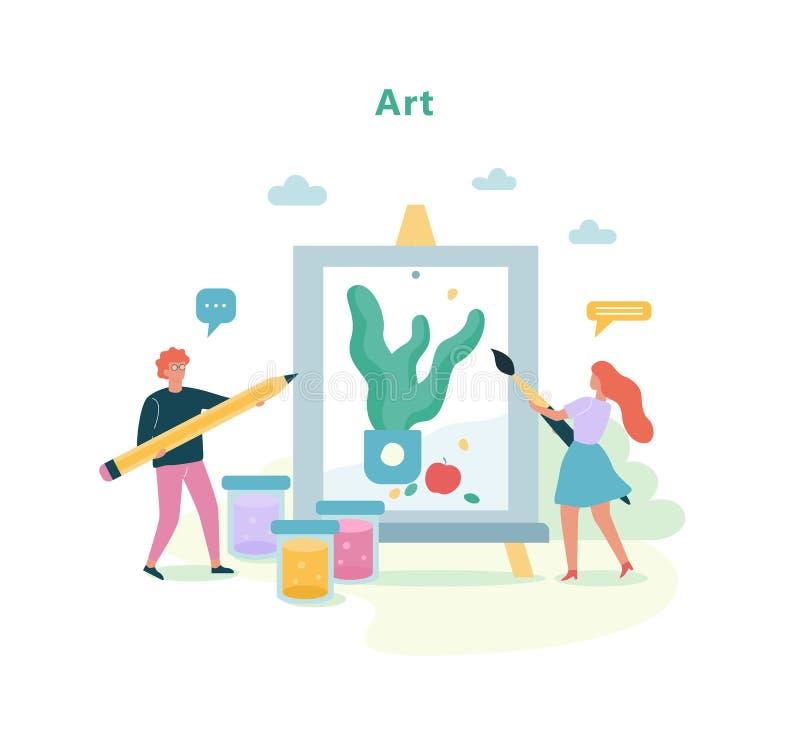 Konstämne i skola Teckningskurs, idé av utbildning stock illustrationer