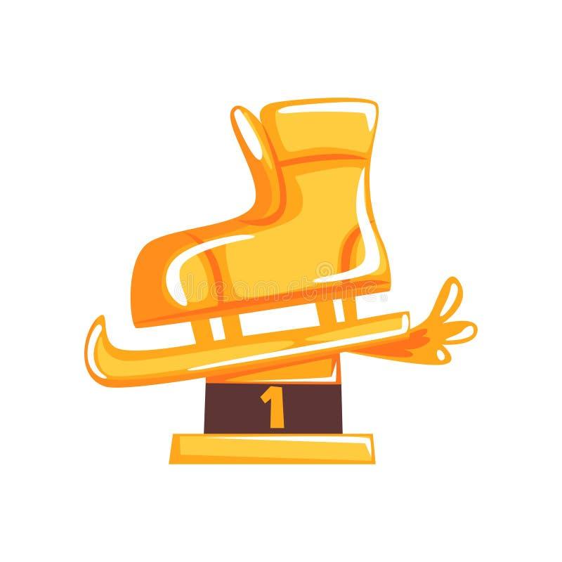 Konståkningutmärkelse för det första stället i tecknad filmlägenhetdesign Guld- statyett i form av skridskor också vektor för cor stock illustrationer