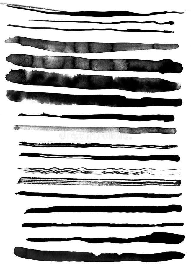 Konst av vattenfärgen Svart fläck på vattenfärgpapper isolerat Abstrakt grå fläck på vit bakgrund färgpulverdroppe grått vektor illustrationer
