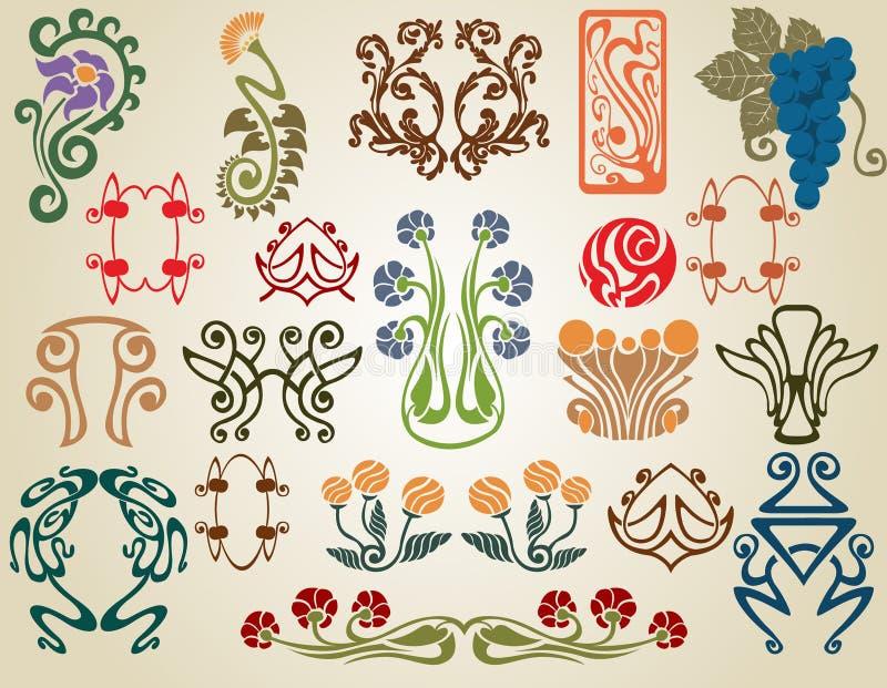 konst blommar nouveauväxter royaltyfri illustrationer