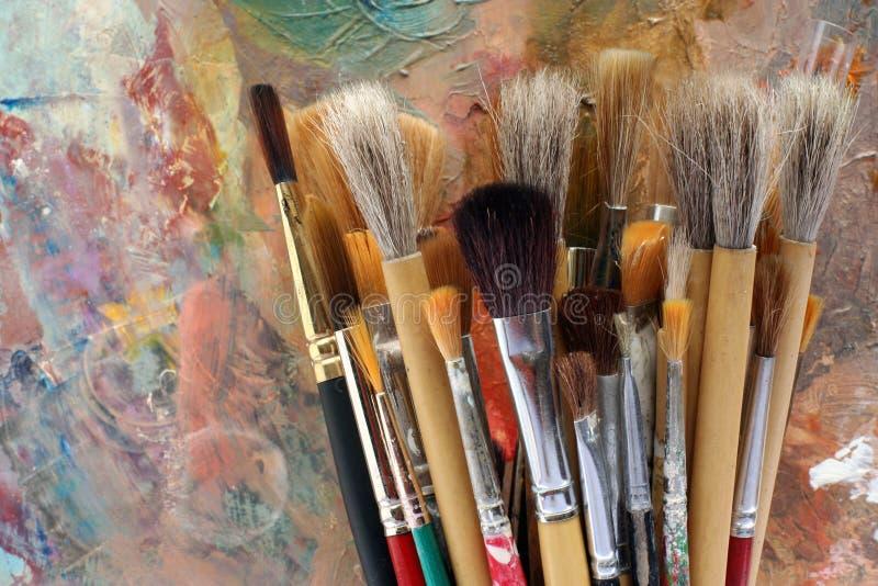 konst brushes paletten arkivfoton