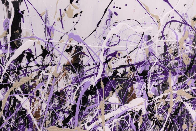 Konst för abstrakt begreppfärgstänkmålning: Slaglängder med olik färg Patte royaltyfri foto