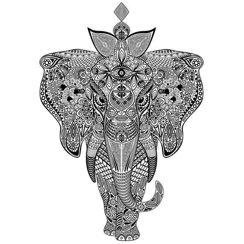 Konst för elefantZentangle klotter stock illustrationer