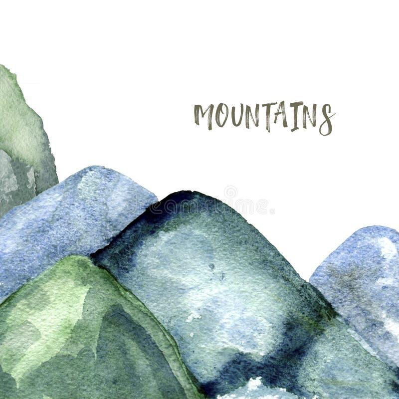 Konst för gem för illustration för teckning för gräsplan för textur för bergvattenfärgfärgstänk geometrisk för kläder för beröm f vektor illustrationer