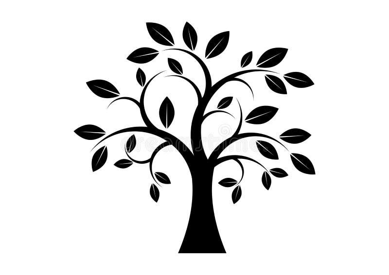 Konst för gem för kontur för dekorträdsvart royaltyfri illustrationer