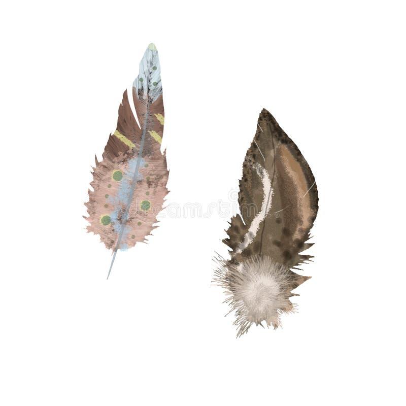Konst för gem för stil för vattenfärgfjäderboho på whitabakgrund stock illustrationer