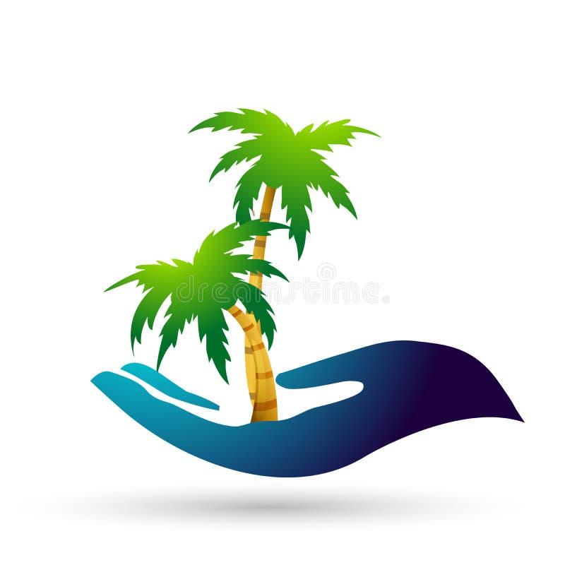 Konst för gem för symbol för växt för strand för kokospalm för handinnehavpalmträd stock illustrationer