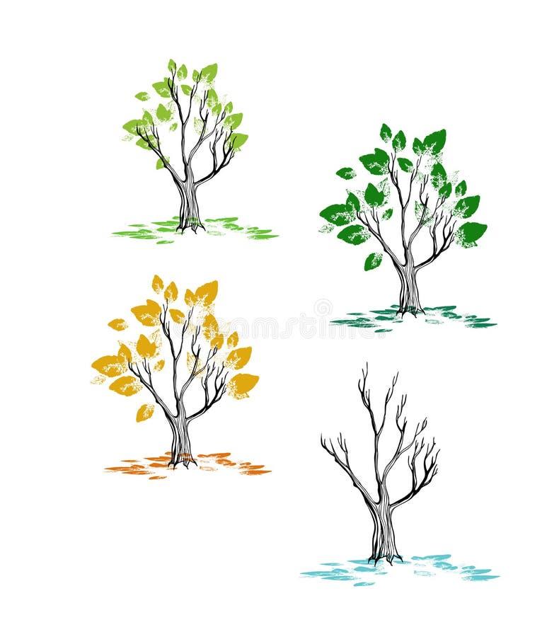 Konst för gem för träd för vinter för sommar för vårhöstnedgång säsong isolerad fastställd royaltyfri illustrationer