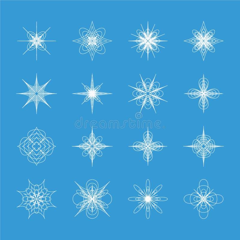 Konst för gem för 16 unik vintersnöflingor royaltyfri illustrationer