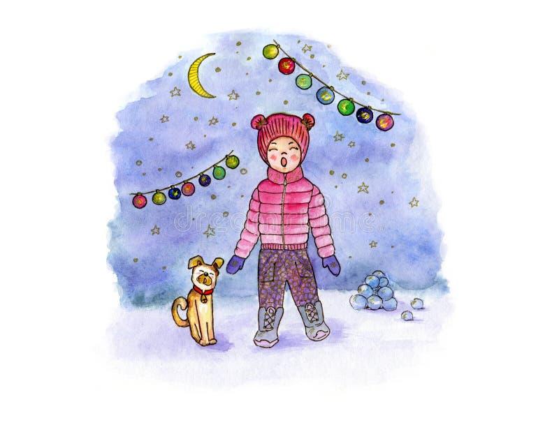 Konst för handteckningsvattenfärg med att sjunga flickan, hunden, månen och girlanden mot bakgrunden av en snöig afton royaltyfri illustrationer