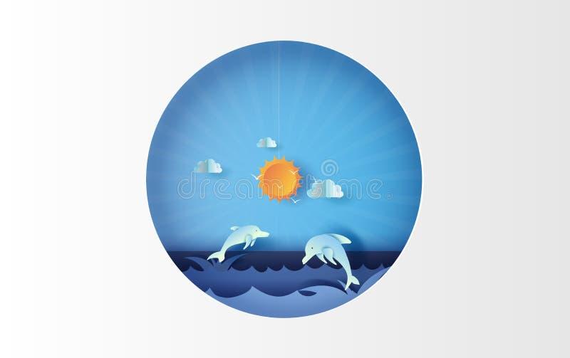 konst för illustration 3D av seascapesikten med banhoppningdelfinliv på härlig havssiktshimmel Sommartidsäsongbakgrund med blått royaltyfri illustrationer