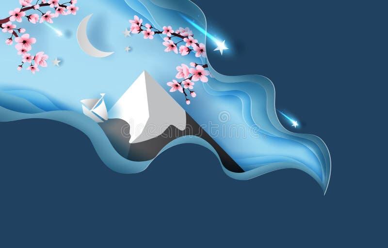 konst för papper 3d av det abstrakta kurvlandskapet för vår av berget Fuji För vårsäsong för körsbärsröd blomning natt Halvmåne-  stock illustrationer