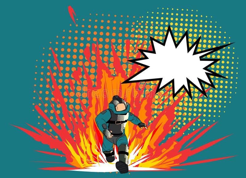 Konst för stil för popkonst komisk och halvtonvektor Sakkunnig komisk vektor för desarmering av blindgångare man för popkonst i E vektor illustrationer