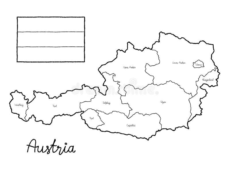 Konst för tecknad film för hand för illustration för vektor för flagga för Österrike landsöversikt utdragen royaltyfri illustrationer