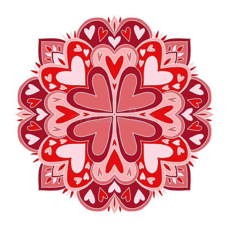 Konst för valentindagMandala Mattprydnadmodell med hjärtor Inre mandalatryck Hälsningkort med dekorativ hjärta stock illustrationer