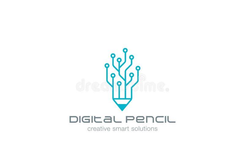 Konst för vektor för design för Digital blyertspennalogo linjär vektor illustrationer