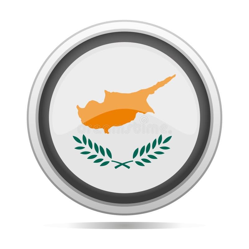 Konst för vektor för stad för design för symbol för metall för Cypern flaggarunda stock illustrationer