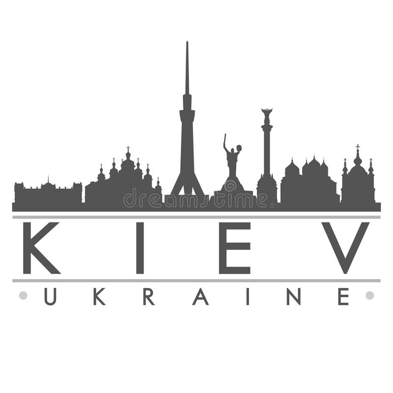 Konst för vektor för stad för Kiev konturdesign vektor illustrationer