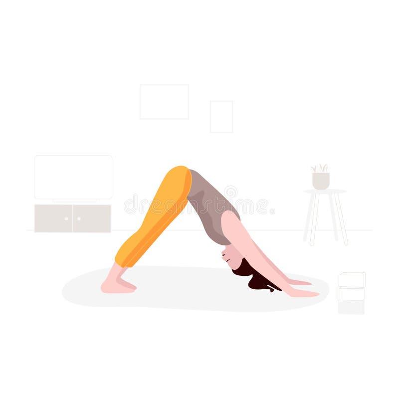Konst för vektor för yoga för utbildning för sportutbildningskvinna För konditionlägenhet för flicka hem- illustration Inomhus ak vektor illustrationer