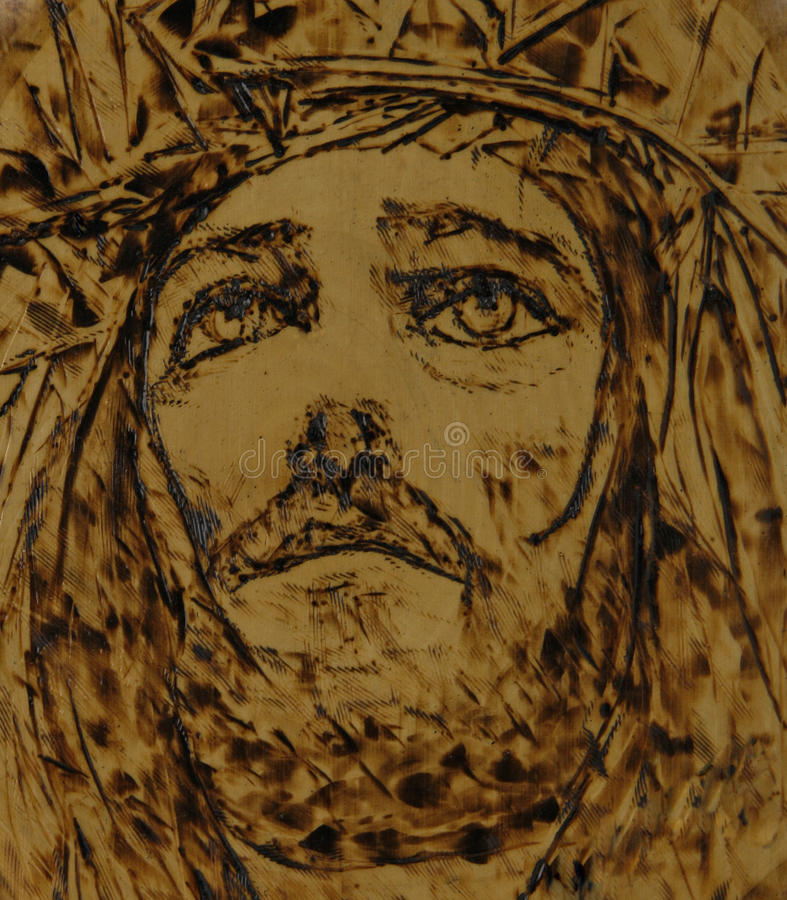 konst jesus som woodburning royaltyfri illustrationer