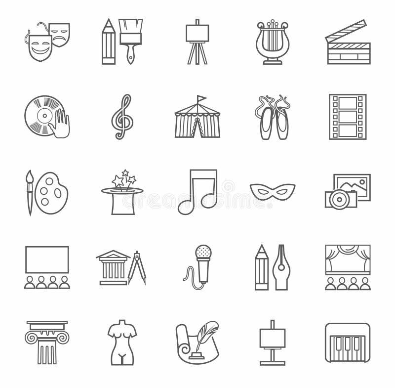 Konst & kultur, symboler, monokrom, översikt vektor illustrationer