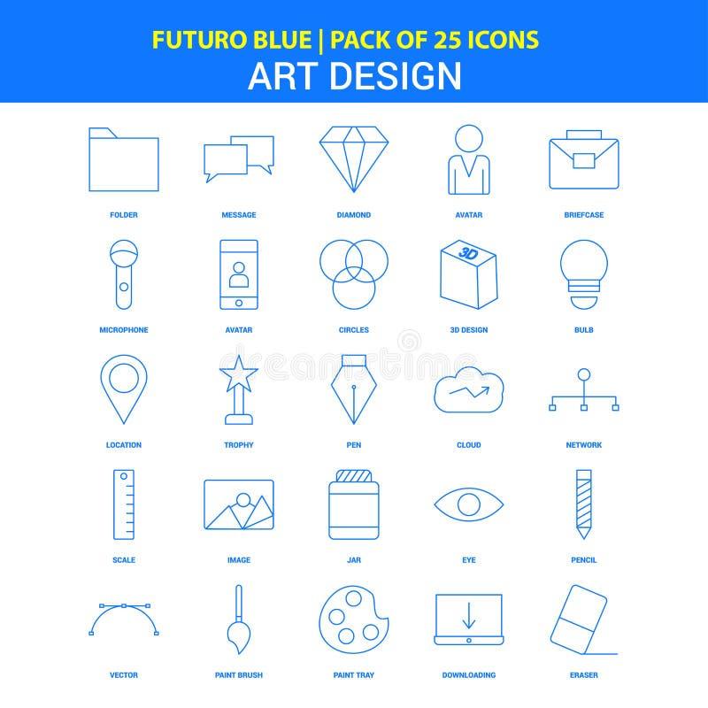 Konst- och designsymboler - packe Futuro blå för 25 symbol royaltyfri illustrationer
