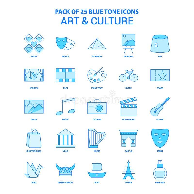 Konst- och kulturblått Tone Icon Pack - 25 symbolsuppsättningar royaltyfri illustrationer
