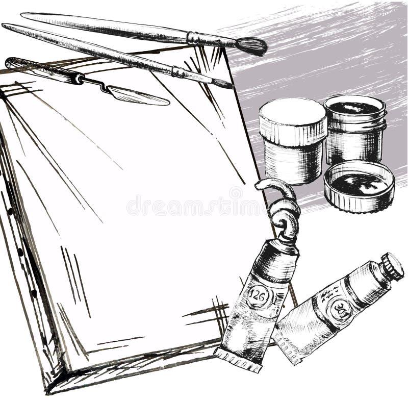 Konst och målarfärgtillbehör royaltyfri illustrationer