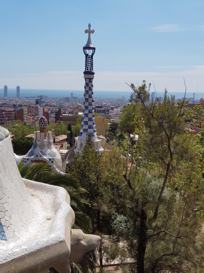 Konst parkerar in Guell, Barcelona, Spanien arkivbilder