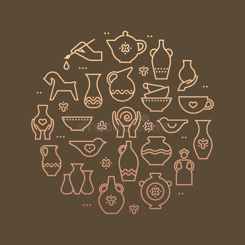 Konst shoppar cirkelmallen Krukmakeriseminariet, keramik klassificerar banerillustrationen Handbyggnad som skulpterar utrustning  stock illustrationer