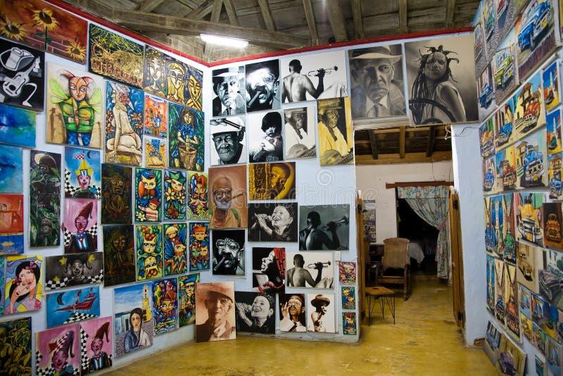 Konst shoppar, Trinidad, Kuba fotografering för bildbyråer