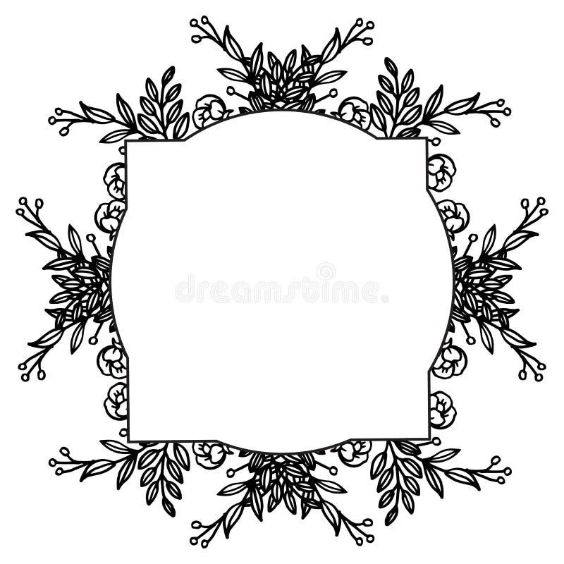 Konst som är modern med den eleganta blommaramen, design av kortinbjudanbröllop, hälsningkort vektor vektor illustrationer