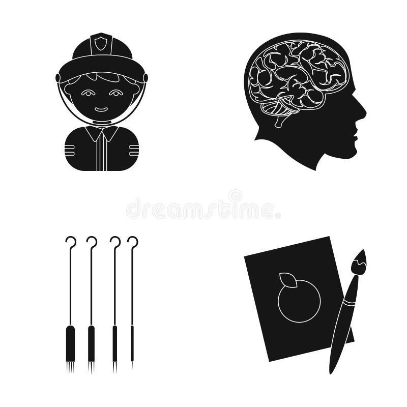 Konst, yrke, hobby och annan rengöringsduksymbol i svart stil blad målarfärg, teckning, symboler i uppsättningsamling vektor illustrationer