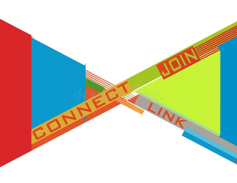 Konstabstraktionen med ` förbinder `, sammanfogar ` `- och `-sammanlänknings`-ord royaltyfri illustrationer