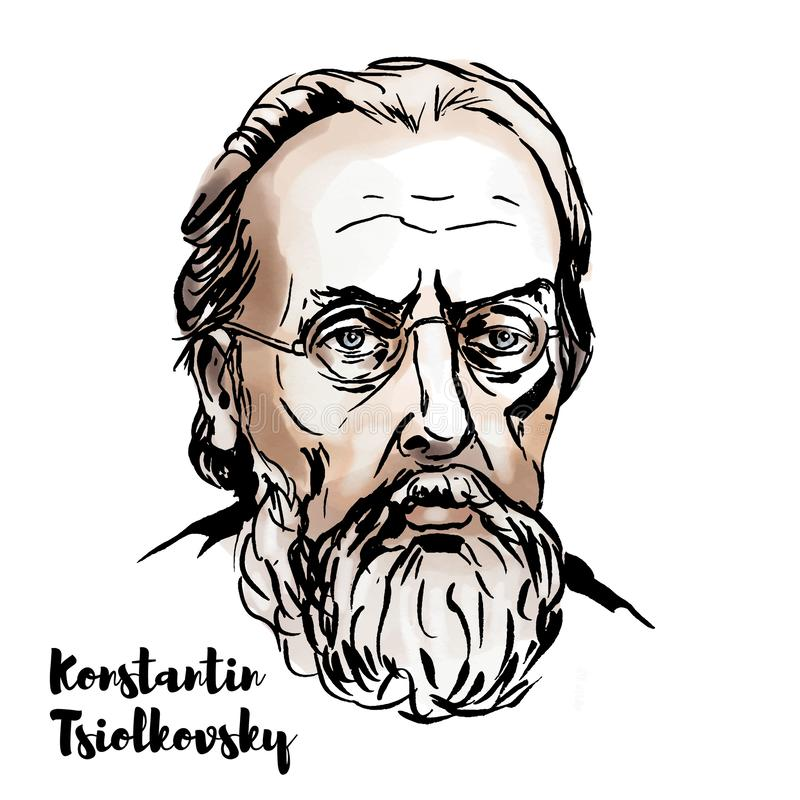 Konstantin Tsiolkovsky Portrait. MOSCOW, RUSSIA - OKTOBER 24, 2018: Konstantin Tsiolkovsky watercolor vector portrait with ink contours. Russian and Soviet stock illustration