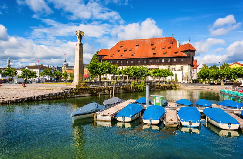 Konstanz, Germany, a port town on Lake Constance. Old port on Lake Constance and the Zeppelin monument in Konstanz, Germany stock images
