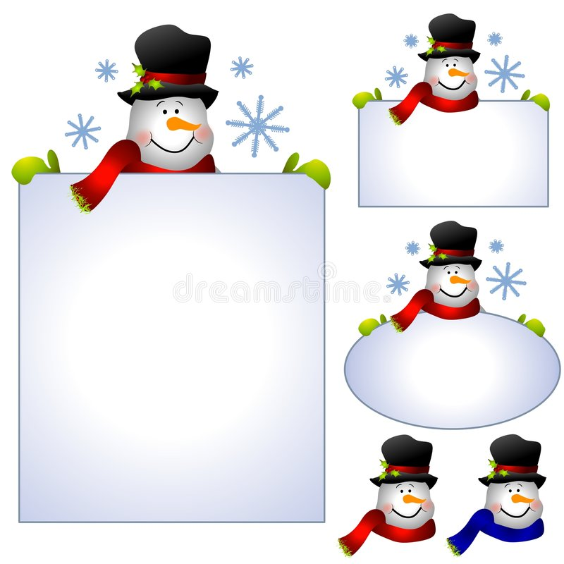 konstbanerkanter fäster snowmanen ihop stock illustrationer