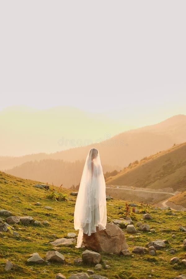 Konstbröllop Härlig flicka med ursnyggt slankt i grå klänning med hand-målade blommaställningar mot berglandskapet royaltyfri foto