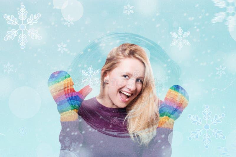 Konstcollage med vinterflickan arkivfoto