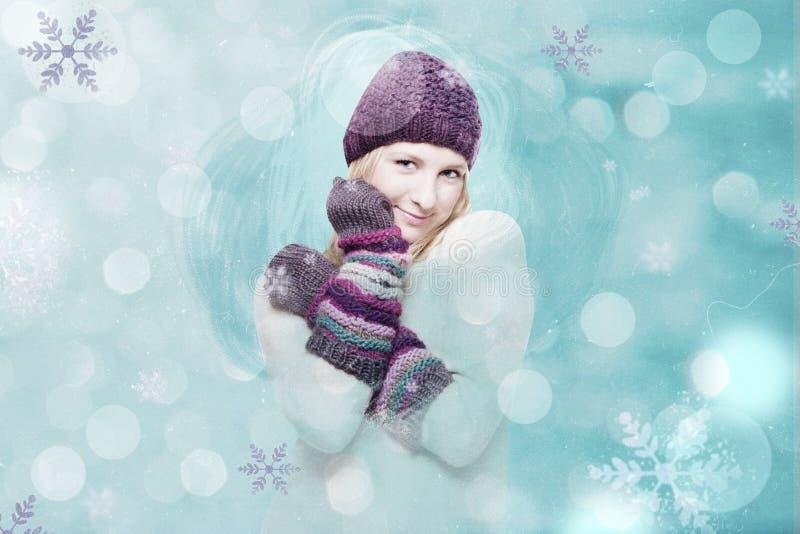 Konstcollage med vinterflickan arkivbilder