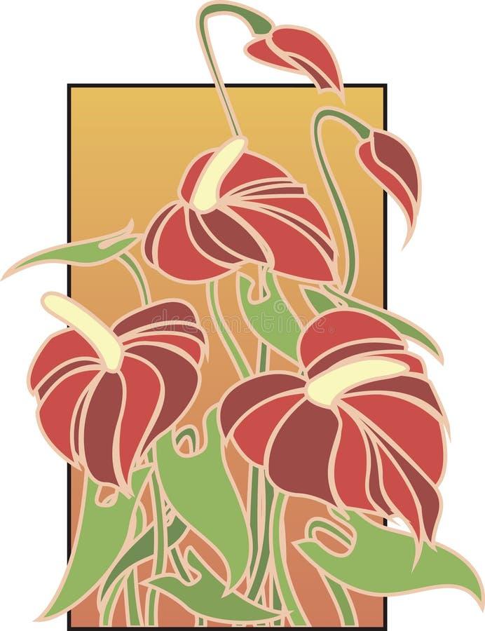 konstdekoen blommar red vektor illustrationer
