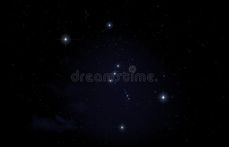 Konstellation av Orion i natthimmel arkivbild