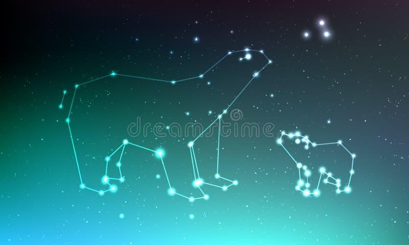 Konstellation Ursa för viktig och ursaminderårig i natthimmel med ljus, stjärnor Ursa i mörk djup himmel, linje och skinande stjä vektor illustrationer