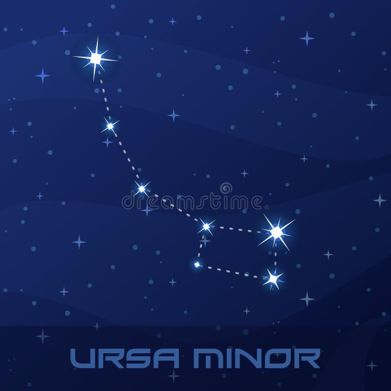 Konstellation Ursa Minor, liten björn royaltyfri illustrationer