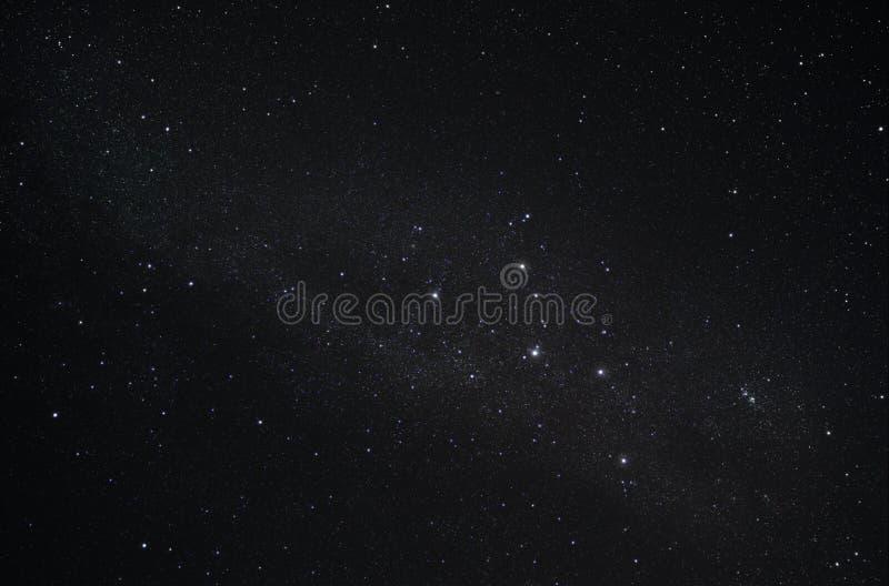KonstellationCassiopeia och vår galax Vintergatan arkivfoto