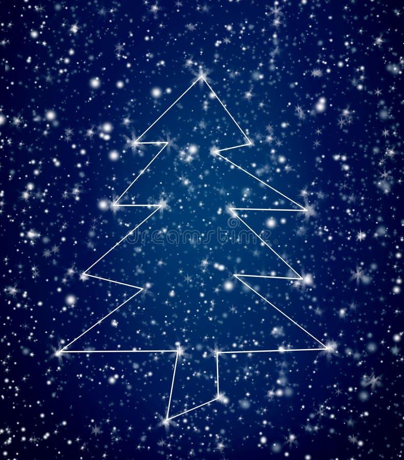 Konstellations-Weihnachtsbaum im schneebedeckten Himmel lizenzfreie stockbilder