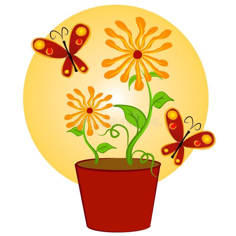 konstfjärilar fäster blommor ihop stock illustrationer