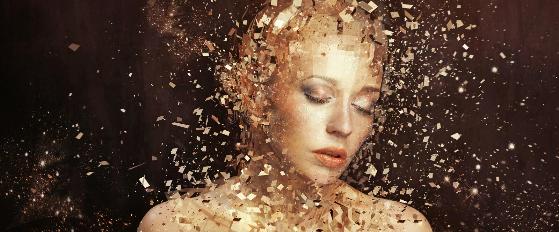 Konstfoto av den guld- kvinnan som splittrar till tusentals beståndsdelar