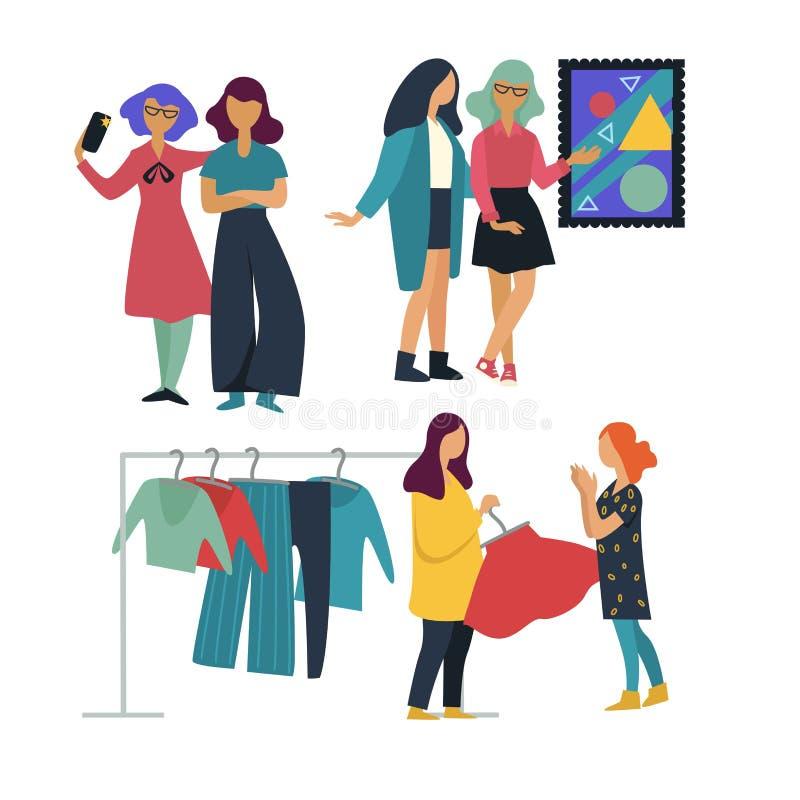 Konstgalleri och shopping för flickväntidsfördriv som tillsammans tar selfie vektor illustrationer